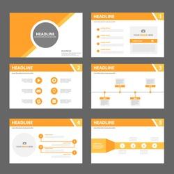 Orange multipurpose presentation template flat design set for brochure flyer marketing and advertising