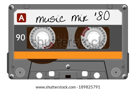 Orange musiccasette, cassette tape, vector art image illustration, isolated on white background, eps10