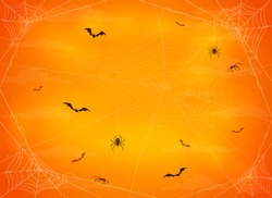 Orange night background with black spiders on cobwebs and flying bats. Illustration can be used for children's holiday design, cards, invitations and banners.