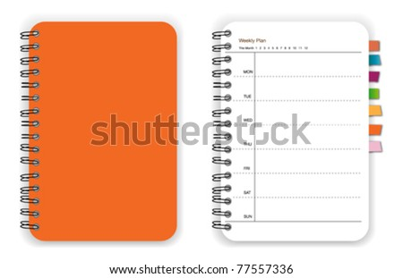 Orange notebook planner