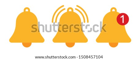 Orange notification bell icons vector illustration Photo stock ©