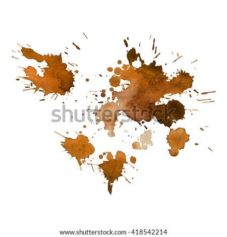 orange ocher coffee watercolor