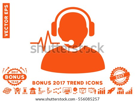 Orange Operator Signal pictogram with bonus 2017 trend images. Vector illustration style is flat iconic symbols, white background.