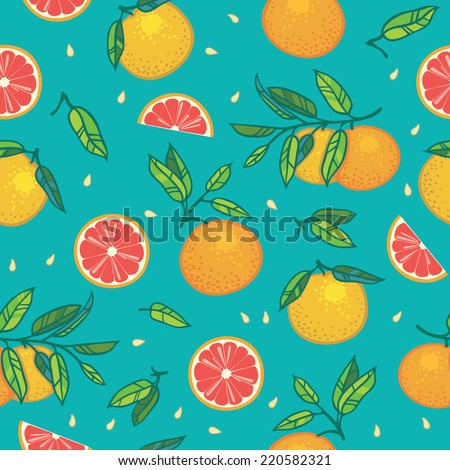 Orange or grapefruit with leaves seamless vector pattern. Bright colorful background with citrus fruits, seeds and leaves on turquoise background.  - stock vector
