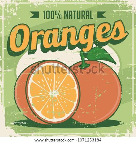 Orange Oranges Vintage Retro Signage Vector