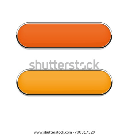 Orange oval  buttons isolated on white background