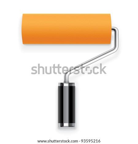 Orange paint roller Icon