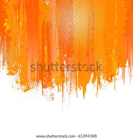 Orange paint splashes background. Vector background with place for your text.