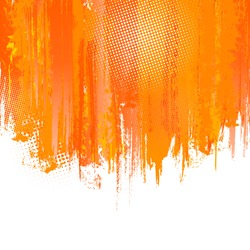 Orange Paint Splashes Background. Vector background with place for your text. Color ink. Artistic Color Graphic.  Hand drawn Backdrop with spatter. Vector Splash Graffiti Texture with Halftone Dots