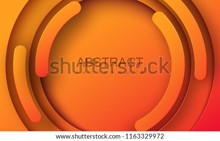 Orange paper cut background. Abstract realistic papercut decoration with radial layers. Vector 3d illustration. Cover layout template. Material design concept