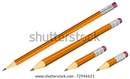 orange pencils isolated on white, realistic looking vector illustration