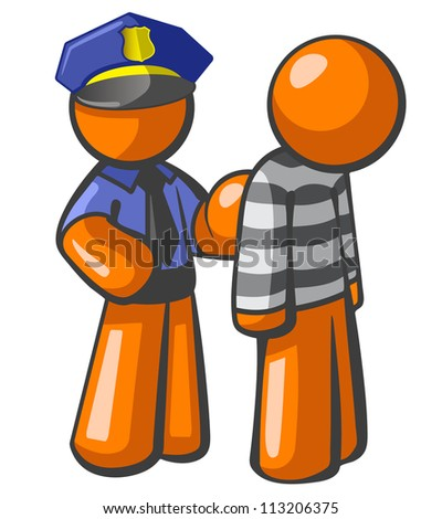 Orange person police man catching a robber. General concept in law, security, piracy, and general justice.