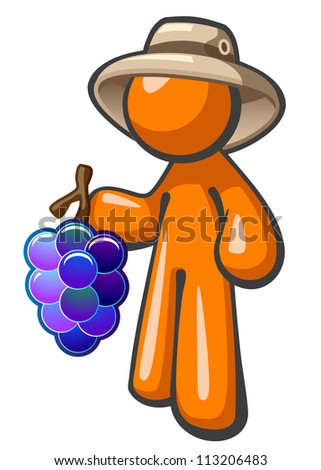 Orange person with grapes. He is a hard working vineyard or plantation worker. The wide hat is for working in the vineyard while picking grapes.