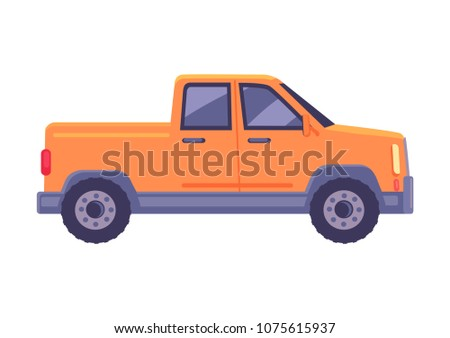 Orange pickup car icon. Compact truck suv flat vector isolated on white background. Passenger vehicle with cargo body chassis illustration