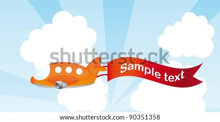 orange plane cartoon with advertising vector illustration