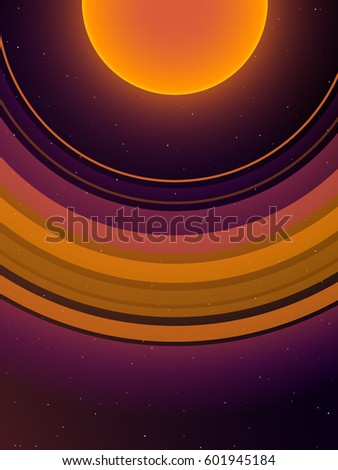 orange planet with giant orange ring system