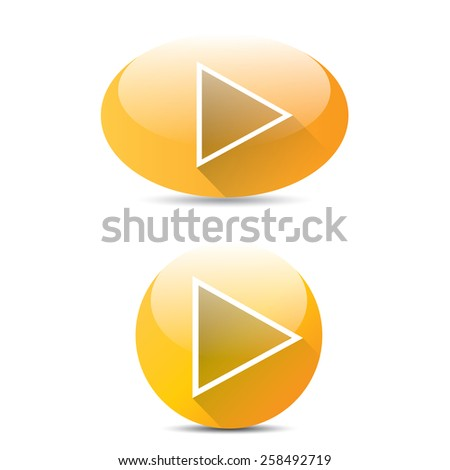 orange Play button set. vector illustration. button collection