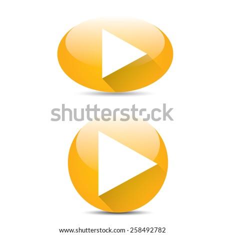 orange Play button set. vector illustration. button collection