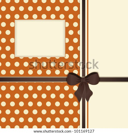 Orange polka dot background in a stationery style with window, brown ribbon and bow