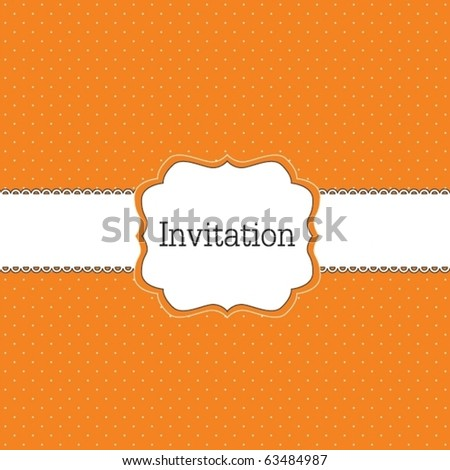 Orange polka dot design, vector frame