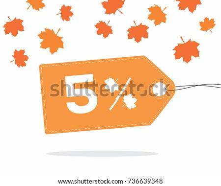 orange price tag label with 5