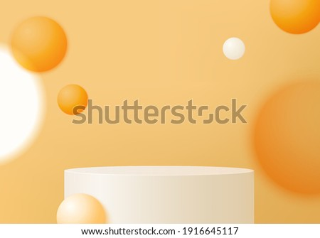 orange product on podium stand minimal scene with geometric platform. background vector 3d rendering. stand to show cosmetic products. Stage showcase on pedestal modern 3d studio orange pastel