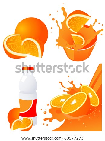 Orange products,  vector illustration - stock vector