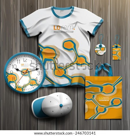 Orange promotional souvenirs design for corporate identity with blue art elements. Stationery set