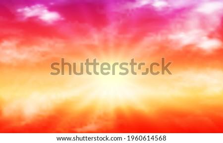 orange purple sky with sun and