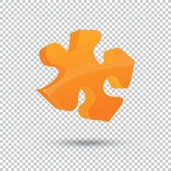 Orange puzzle 3d pie logo design Isolated on checked transparent background. design element for printables, web, prints, t-shirt. Vector illustration. Eps 10 vector file.