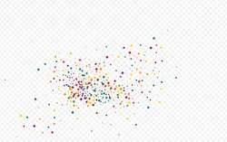 Orange Rain Vector Transparent Background. Effect Confetti Pattern. Celebration Dot Invitation. Rainbow Dust Flying Texture.