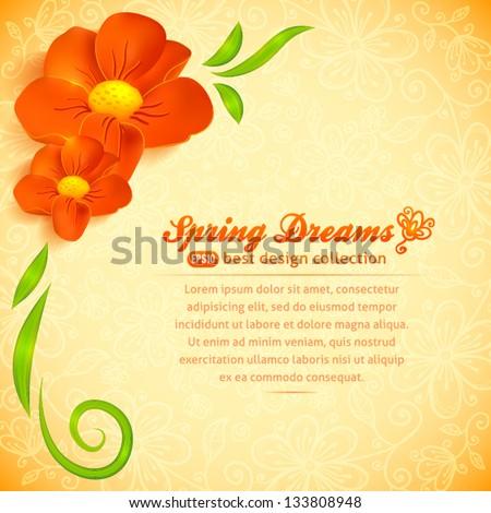 orange realistic flowers ornate