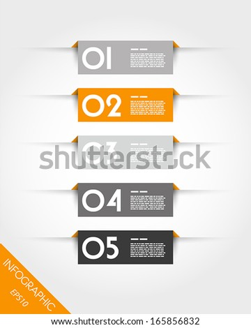 orange rectangular stickers with shadows infographic concept