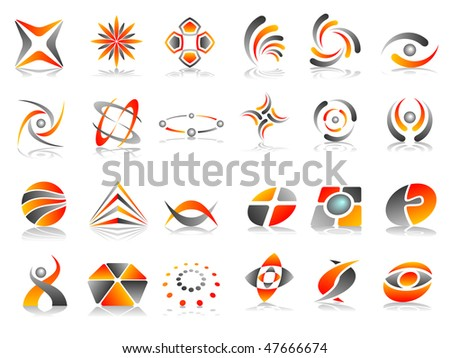 Orange Red and Grey Abstract Vector Icon Design Element Set