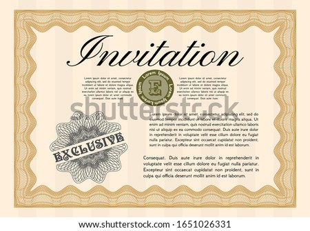 Orange Retro invitation template. With linear background. Customizable, Easy to edit and change colors. Artistry design.
