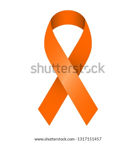 Orange ribbon vector illustration for support and awareness campaigns. Symbol of Multiple Sclerosis, self injury and leukemia.