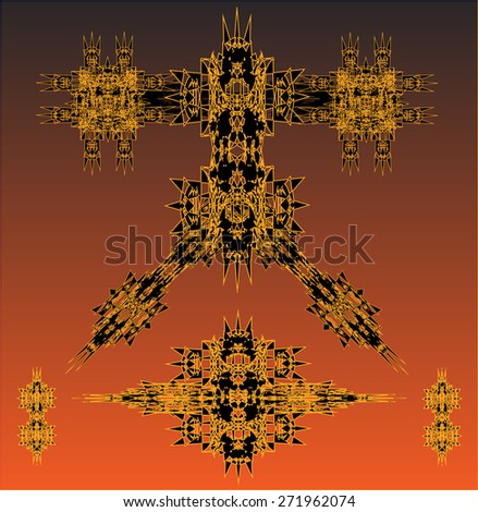 orange robots vector set