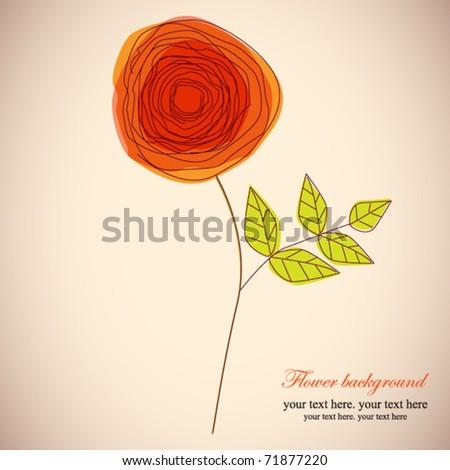 Orange rose, doodle flower