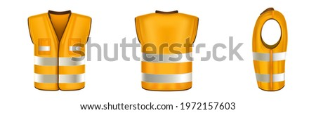 Orange safety vest with reflective stripes, uniform for construction works, drivers and road workers. Vector realistic 3d waistcoat with reflectors and pockets in front, back and side view Stock fotó ©