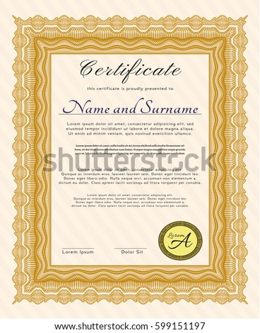 Orange Sample Certificate. With complex linear background. Money design. Detailed.