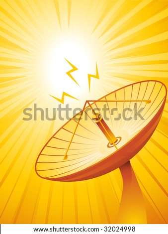 orange satellite on a star burst background