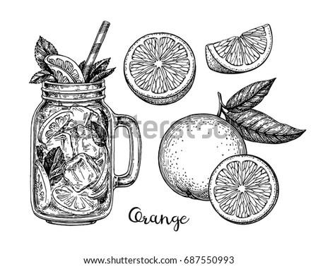 orange set isolated on white
