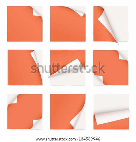 orange set of note paper with curled corner