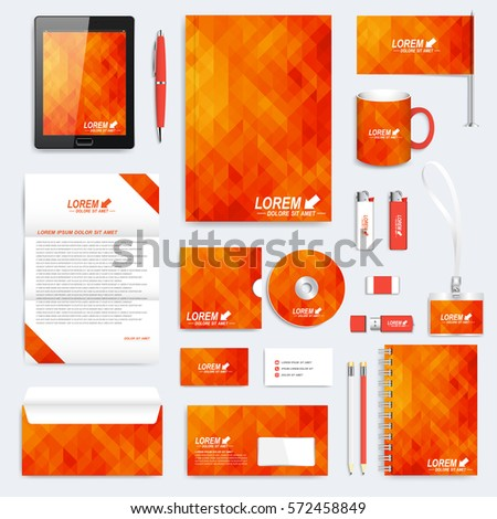 Orange set of vector corporate identity template. Modern stationery mock-up. Background with orange and yellow triangles. Business, science, medicine and technology design. Branding design