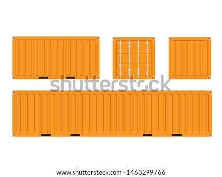 Orange Shipping Cargo Container for Logistics and Transportation Isolated On White Background Vector Illustration