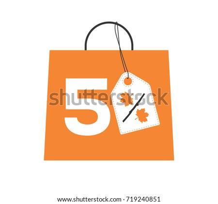 orange shopping bag with 5