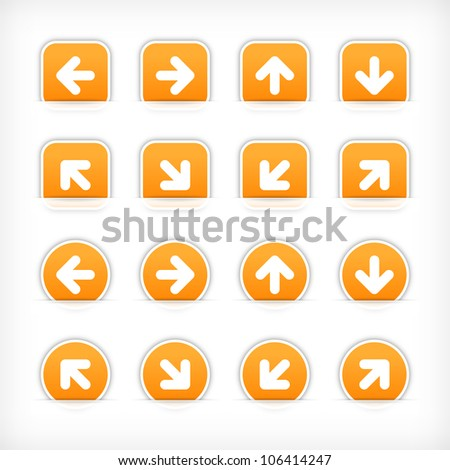 Orange sign arrow sticker on cut paper pocket. Web button blank satin circles and rounded square shapes with gray drop shadow on white background. This vector illustration design element saved 10 eps