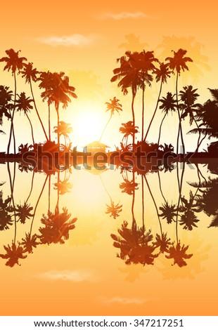 orange sky vector palms