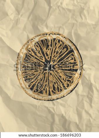 Orange slice on bright crumpled paper texture background - vintage illustration, eps10