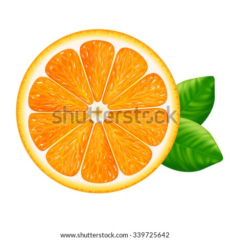 orange slice with leaves